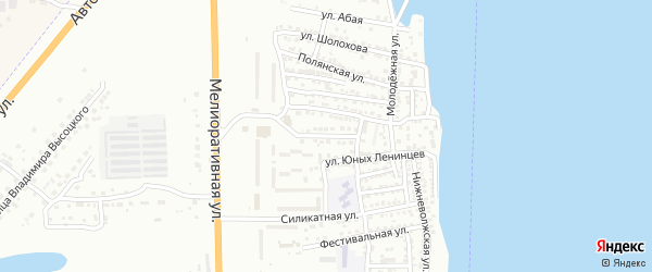 Лиственная улица на карте Астрахани с номерами домов