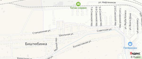 Школьный переулок на карте села Биштюбинка с номерами домов