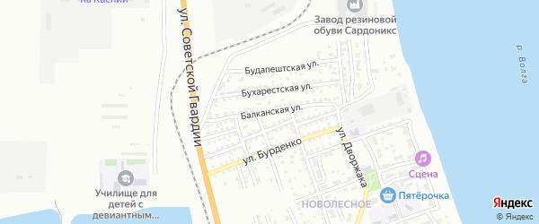 Балканская улица на карте Астрахани с номерами домов