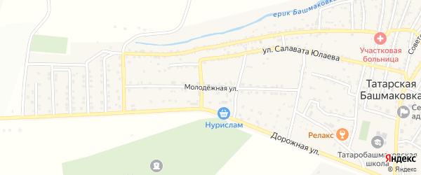 Молодежная улица на карте села Татарской Башмаковки с номерами домов