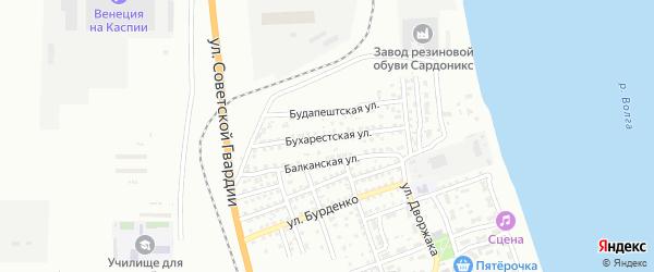 Бухарестская улица на карте Астрахани с номерами домов