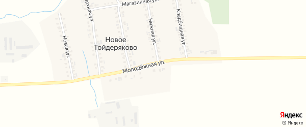 Молодежная улица на карте деревни Новое Тойдеряково с номерами домов