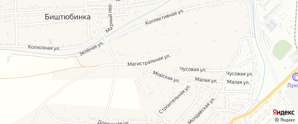 Магистральная улица на карте села Биштюбинка с номерами домов