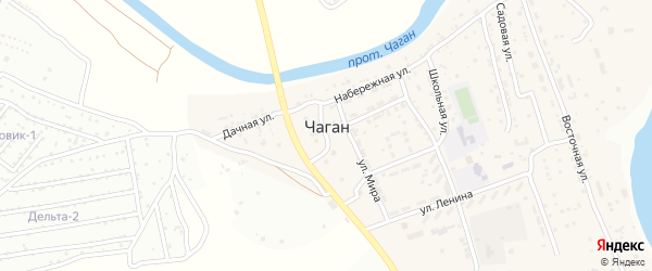 Территория сдт Дельта-2 на карте села Чагана с номерами домов
