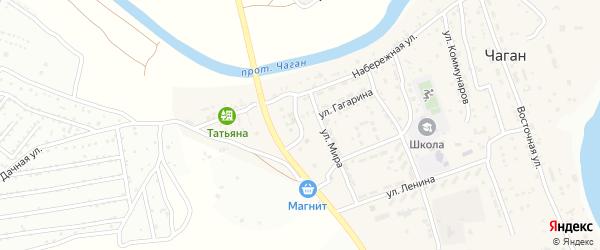 Улица Мира на карте села Чагана с номерами домов