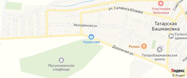 Дорожная улица на карте села Татарской Башмаковки с номерами домов