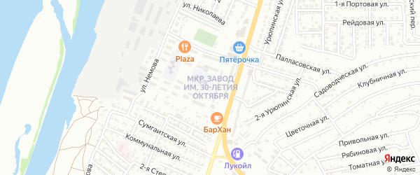 Территория 30 лет Октября на карте Астрахани с номерами домов