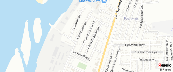 Улица Станиславского на карте Астрахани с номерами домов