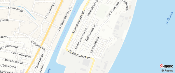 Дубенская улица на карте Астрахани с номерами домов