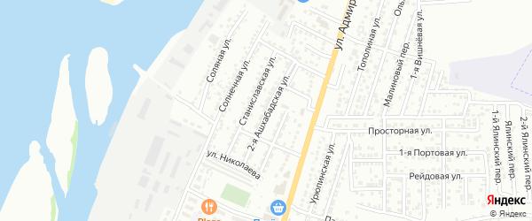 Ашхабадская 2-я улица на карте Астрахани с номерами домов