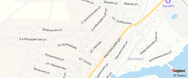 Узкий переулок на карте Астрахани с номерами домов