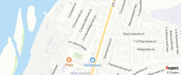 Ашхабадская улица на карте Астрахани с номерами домов