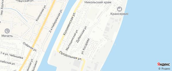 Казанский переулок на карте Астрахани с номерами домов