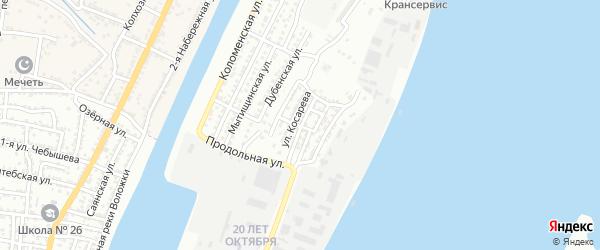 Юбилейная улица на карте Астрахани с номерами домов