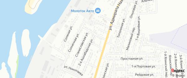 Переулок Адмирала Нахимова на карте Астрахани с номерами домов
