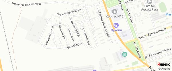 Улица Трилиссера на карте Астрахани с номерами домов