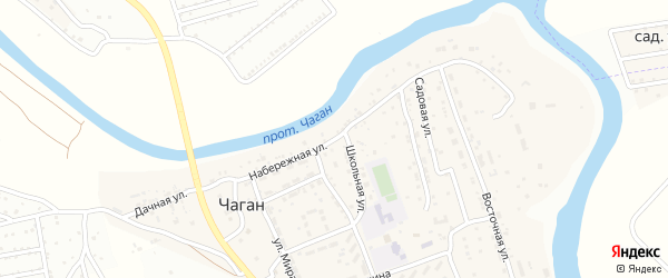 Набережная улица на карте села Чагана с номерами домов