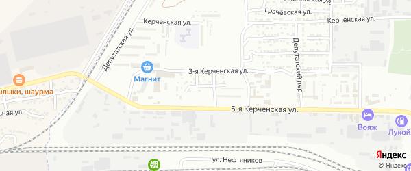 Керченская 4-я улица на карте Астрахани с номерами домов