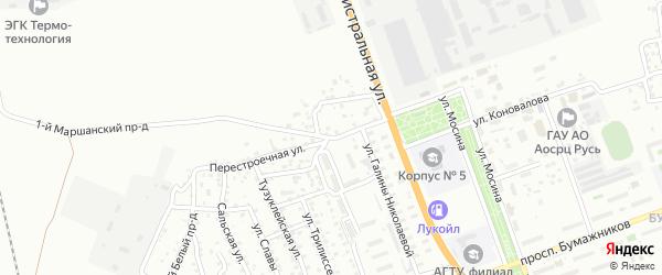 Магистральный переулок на карте Астрахани с номерами домов