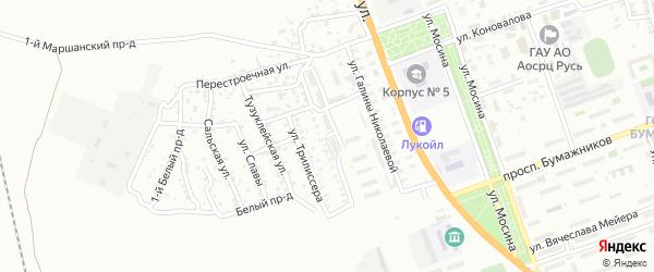 Молодогвардейская улица на карте Астрахани с номерами домов