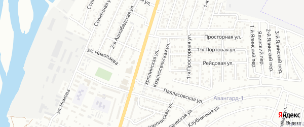 Урюпинская улица на карте Астрахани с номерами домов