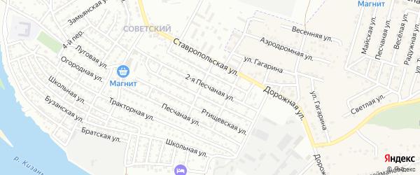 Песчаная 2-я улица на карте Астрахани с номерами домов