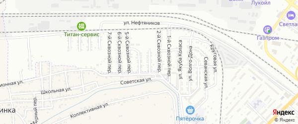 Сквозной 3-й переулок на карте Астрахани с номерами домов