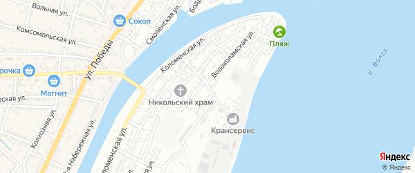 Шаховский переулок на карте Астрахани с номерами домов