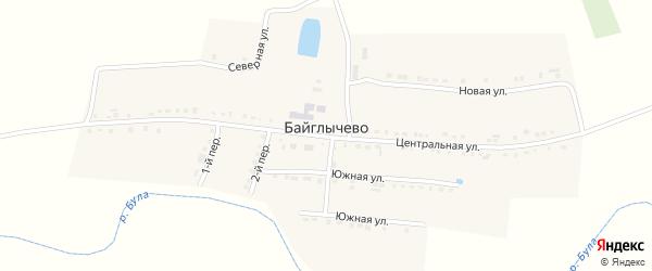 Центральная улица на карте села Байглычево с номерами домов