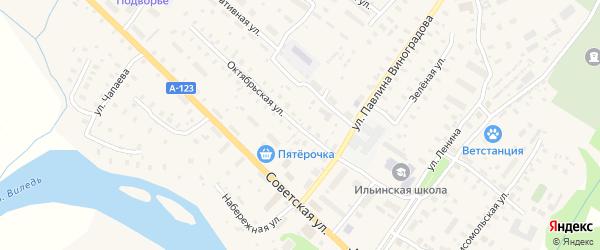 Октябрьская улица на карте Ильинско-Подомского села с номерами домов