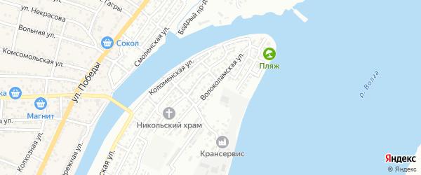 Волоколамская улица на карте Астрахани с номерами домов