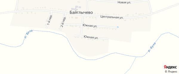 Южная улица на карте села Байглычево с номерами домов