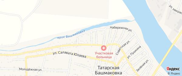 Улица Такташа на карте села Татарской Башмаковки с номерами домов