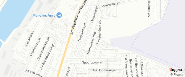 Малиновый переулок на карте Астрахани с номерами домов