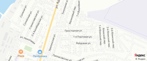 Просторная улица на карте Астрахани с номерами домов