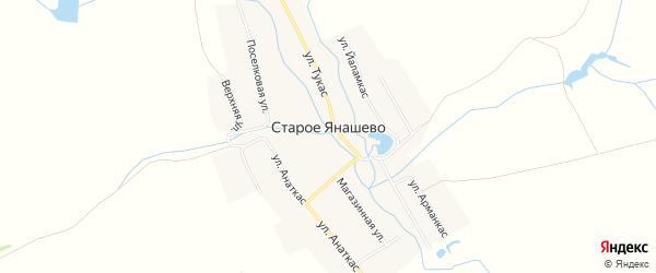 Карта деревни Старое Янашево в Чувашии с улицами и номерами домов