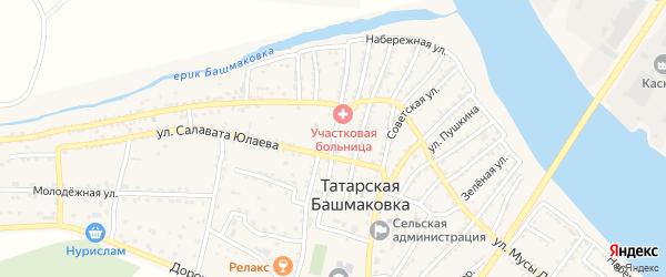 Улица Лермонтова на карте села Татарской Башмаковки с номерами домов