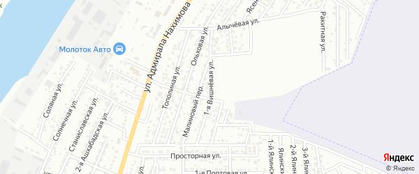 Вишневая 1-я улица на карте Астрахани с номерами домов