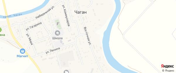 Восточная улица на карте села Чагана с номерами домов