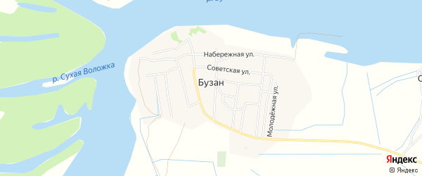 Карта поселка Бузана в Астраханской области с улицами и номерами домов