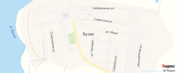 Южная улица на карте поселка Бузана с номерами домов
