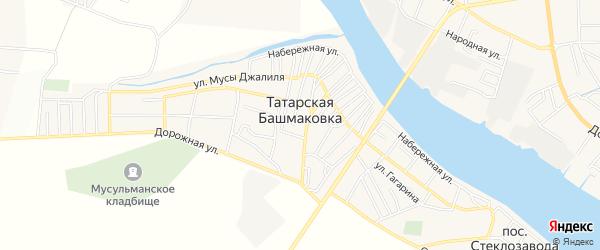 Снт Староволжский на карте села Татарской Башмаковки с номерами домов