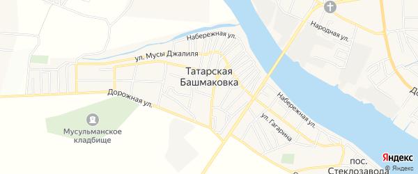 Карта села Татарской Башмаковки в Астраханской области с улицами и номерами домов