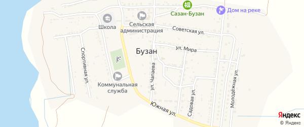 Улица Чапаева на карте поселка Бузана с номерами домов