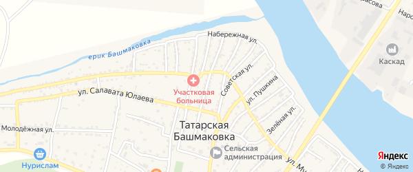 Улица Исхакова на карте села Татарской Башмаковки с номерами домов