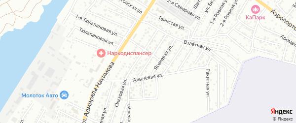 Вишневая улица на карте Астрахани с номерами домов