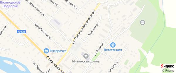Зеленая улица на карте Ильинско-Подомского села с номерами домов