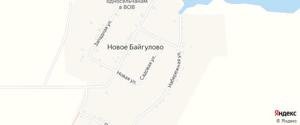 Садовая улица на карте деревни Новое Байгулово с номерами домов