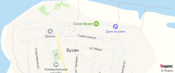 Советская улица на карте поселка Бузана с номерами домов