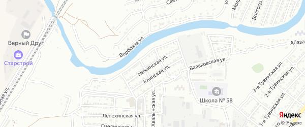 Нежинская улица на карте Астрахани с номерами домов